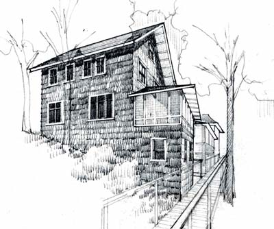 Bob theis new buildings burt cottage for Exterior 2 point perspective