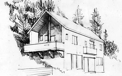 Sketch of Swayne Home exterior