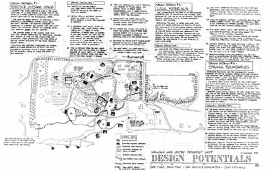 Annotated plan of Wallowa Lake Camp & Retreat Center, design potentials