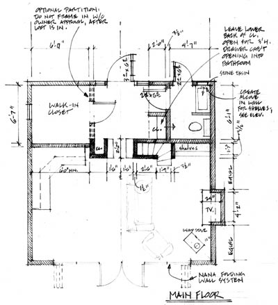 Annotated plan of garage, main floor