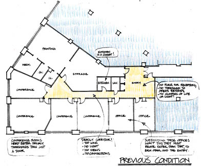 Annotated plan of Share Printing Offices, before renovation